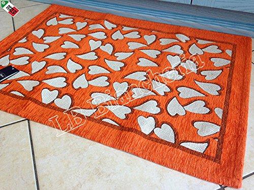 By Suardi Tappeto arredo Passatoia Cucina Cuori Sweet Shabby Chic Moderno in ciniglia cm 55x280 Made in Italy ROSSO