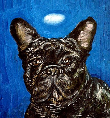 French Bulldog Angel dog art tile coaster gift ()