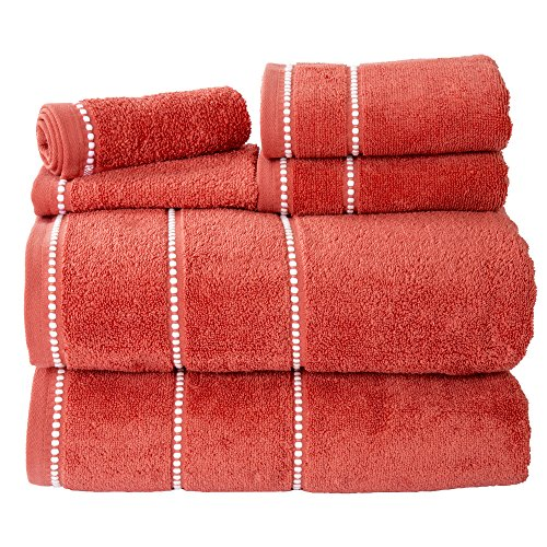lavish-home-quick-dry-100percent-cotton-zero-twist-6piece-towel-set-brick