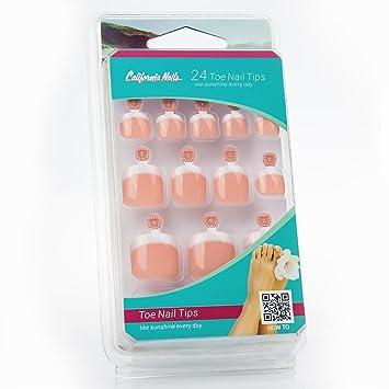 Del dedo del pie nail puntas, artificiales pie uñas para pegar con texto en alemán francés uñas con aroma a melocotón y aspecto: Amazon.es: Salud y cuidado ...