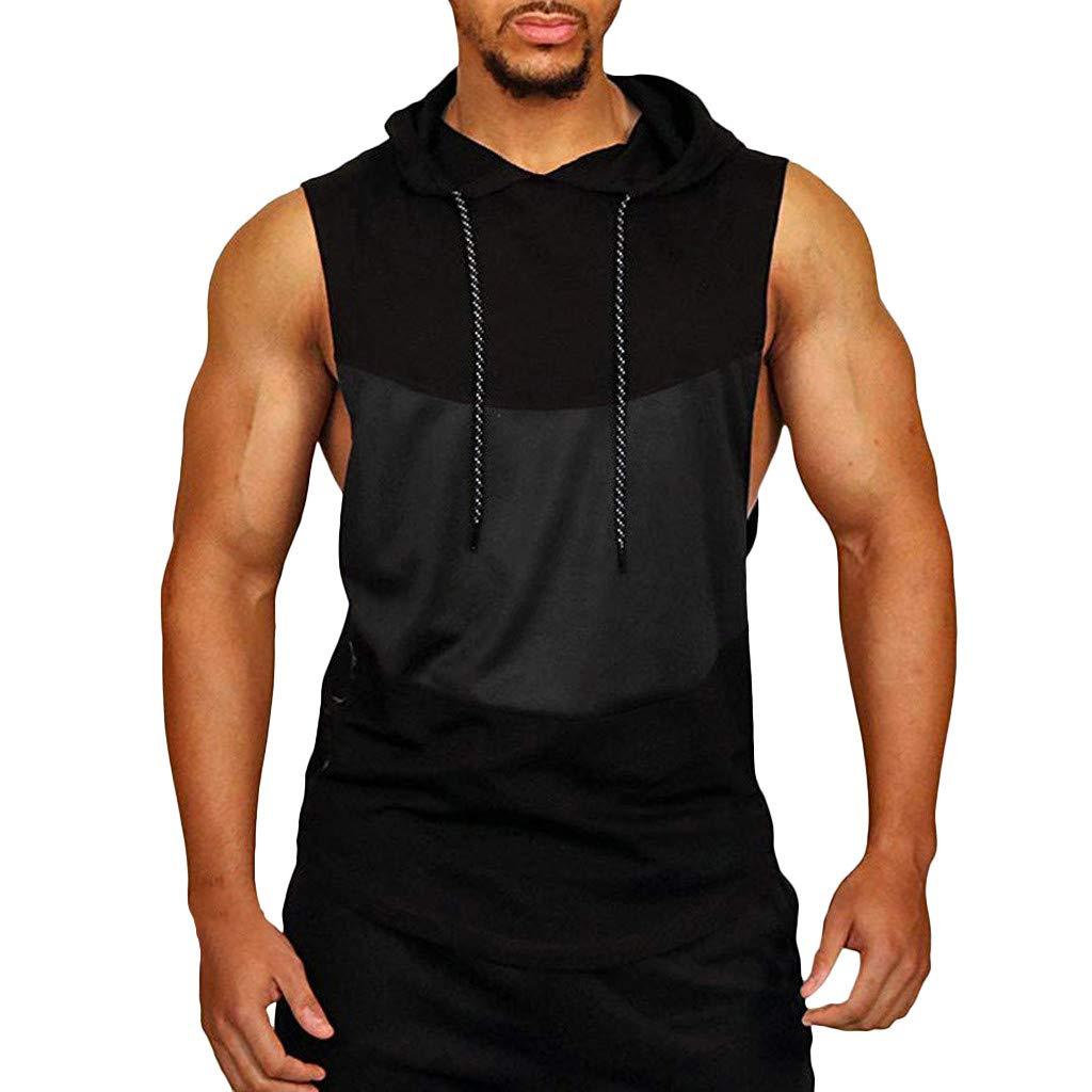 Men's Shirts Tank Top Patchwork Hooded Sport T-Shirt Top Vest Blouse Sleeveless Bodybuilding Tee