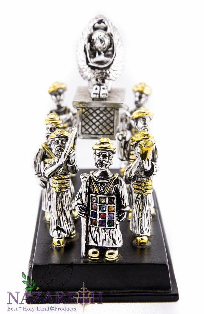 Ark of the Covenant With Carriers Silver Plated Statue Figurine With 12 Hoshen Crystals Jerusalem