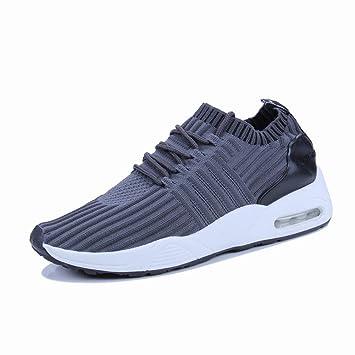 Fuxitoggo Zapatos Zapatillas de Deporte Verdes Hombres Malla Transpirable Zapatillas de Running de Tendencia Informal (Color : Gris, tamaño : 44): ...