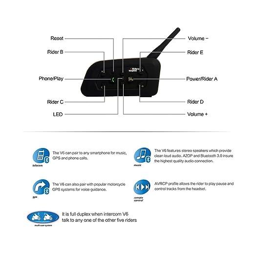 CARCHET - Sistema manos libres para motos (Bluetooth), color negro: Amazon.es: Electrónica