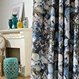 Anady Top Blackout Blue Floral Curtains Bedroom Drapes 2 Panel Oil Painting Blue Flowers Curtains Living Room Art Drapes Grommet Top 63 inch Long For Sale