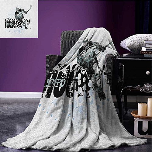 (Hockey wearable blanket Grunge Sketch Art of a Professional Player Silhouette and Text with Dots security blanket Black White Pale Blue size:50