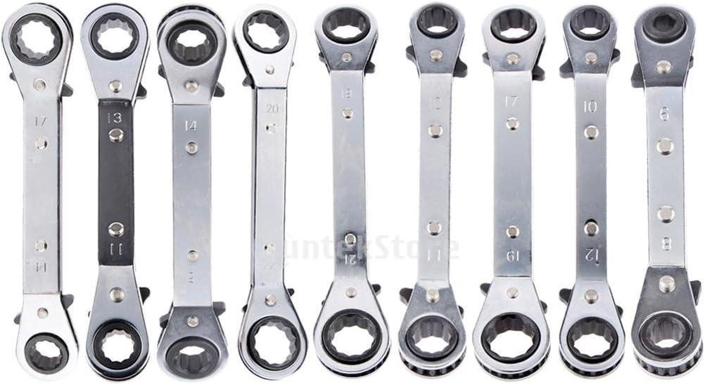 welim llave llave de carraca llave acero llave doble cabeza llave f/ácil de usar sobre 17/* 19/cm
