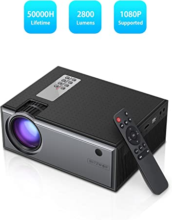 HD Portable Projector with HDMI,USB,TF Card Slot,DC,Audio Out Port,B Mini LCD Video Projector 1080P Supported Projector