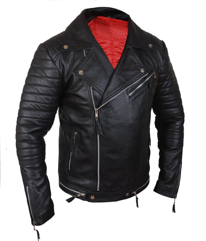 F&H Men's Genuine Lambskin Leather Ribbed Biker Motorcycle Jacket