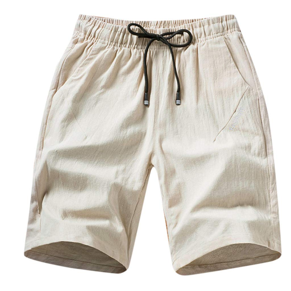 Men's Cotton Shorts Fashion Casual Loose Solid Linen Plus Size Trousers Drawstring Beach Pant