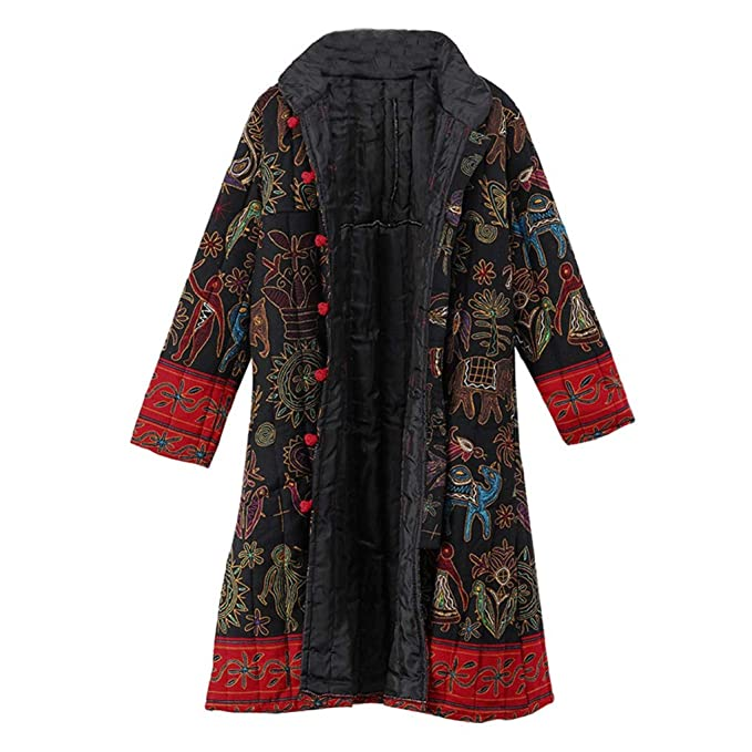 shop best sellers huge sale first rate Womens Oversize Long Coats TUDUZ Ladies Winter Warm Vintage Chinese Style  Parka Loose Ethnic Boho Print Button Jacket