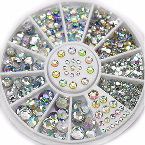 1 Sets 5-Sizes Mixed Colors Acrylic Glitter Nail Art Rhinestones Wheel 3D Studs Accessoires Decorations DIY Manicure Nails Tools Tips Kits Pleasantness Popular Xmas Christmas Winter Holidays Tool Kit by GrandSao