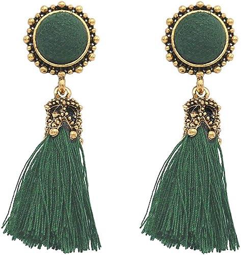 Fashion Bohemian Thread long Tassel Dangle Earrings rhinestone stud Earrings