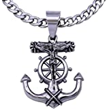 C08S-P37S Men's Stainless Steel Silver Anchor Jesus Cross Cuban Necklace Chain Link