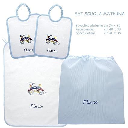 Asciugamani E Bavaglini Personalizzati.Coccole Set Asilo Scuola Materna Moto Azzurra 4 Pezzi 2 Bavaglini