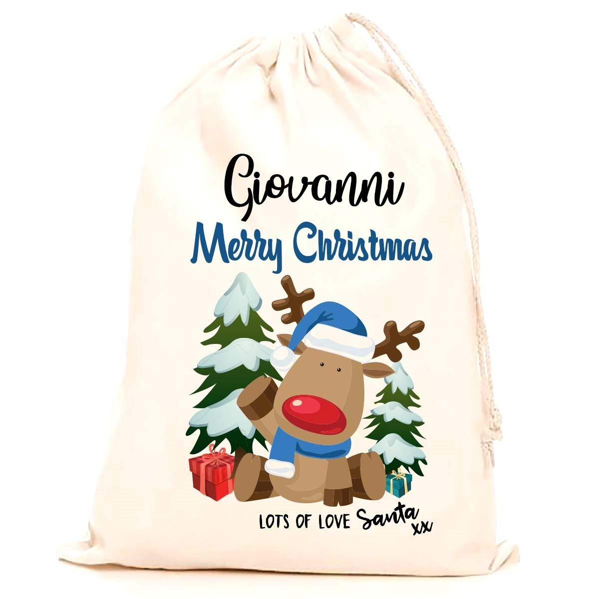 Treat Me Suite Giovanni personalised name Christmas santa sack, stocking printed with a blue reindeer (75x50cm) 100% Cotton Large. Children, Kids, making it the perfect keepsake xmas gift/present. CS Printing Limited