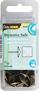 Dritz 100054 Upholstery Decorative Nails 1.16 in. 24-Pkg-Antique Brass Square