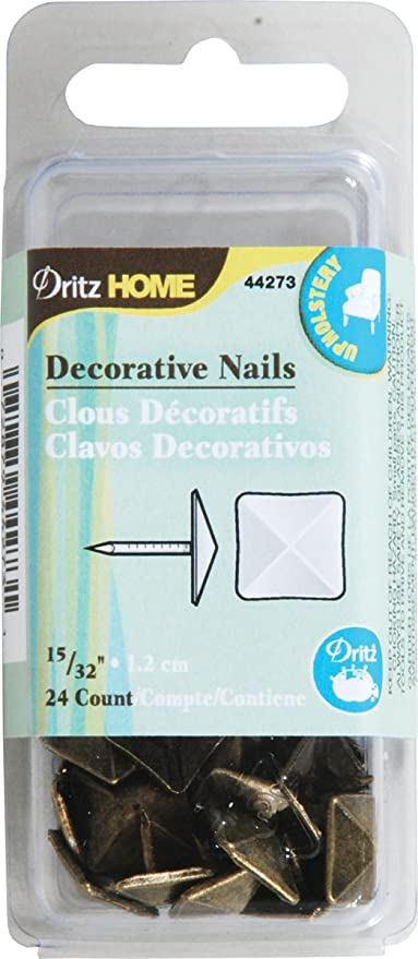 Dritz 44273 tapicería Decorativo Clavos de Cabeza Cuadrada, latón Envejecido, 15/32 Pulgadas