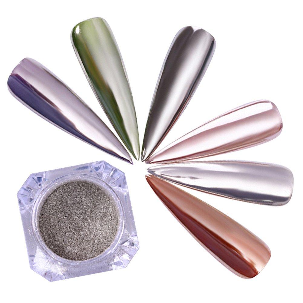 Born Pretty Nail Art Mirror Powder Silver Shimmer Mermaid Pigment Pearl Chrome Glitter Dust for Manicure Makeup 0.5g