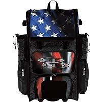 Boombah Superpack Hybrid Rolling Bat Bag - USA Black Ops Black/Royal Blue/Red - Wheeled & Backpack Version