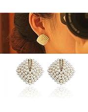 Ikevan 2017 New Fashion Women's 1 Pair Fashion OL Style Women Stud Earrings Pearl Rhombus Crystal Rhinestone