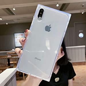 iPhone Xs Max Case Square,Facweek Clear Xmax Transparent Cases Reinforced Corners Soft TPU Cushion Ultra-Thin Slim Cover Silicone Shell-Clear