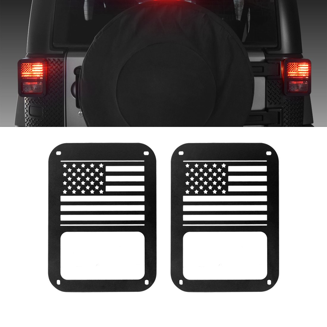 Extreme Off-Road Jeep Wrangler Taillights Covers Tail Light Guard Rear Light Cover Black Dog Paw Jeep Wrangler Accessories JK JKU & Unlimited Rubicon Sahara Sports, 2007-2018 - Matte Black(2 Pcs)