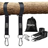 BUSATIA Tree Swing Straps (Set of 2), Tree Hanging Kits 5ft Length with 2 Heavy Duty Safety Lock Carabiner Hooks, Polyester Straps Perfect for Hammock Hanging Kit Straps, Holds Up to 2204lb