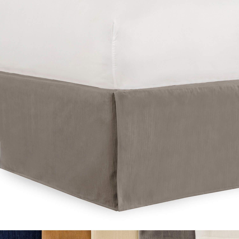 Shop Bedding Tailored Velvet Bed Skirt with Split Corner 21 inch Drop Queen, Grey Modern Dust Ruffle, High-End