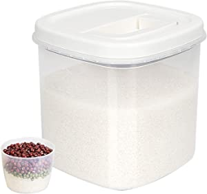 AUSCREZICON Rice Storage Container 10 Lb, BPA Free Airtight Food Container Bin with Measuring Cup, Dry Food Storage Containers for cereals Flour Oatmeal, Pet Food etc, Kitchen & Pantry Organization