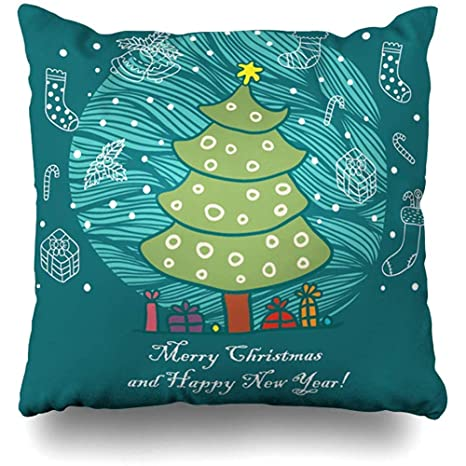 Heekie Funda de cojín Throw Pillow Cover Joy Merry Christmas ...