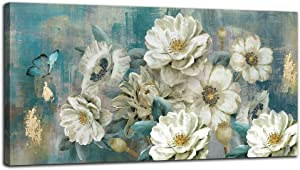 Arjun Canvas Wall Art White Flowers Elegant Modern Picture, Foil Gold Rustic Painting Colorful Turquoise Floral 40
