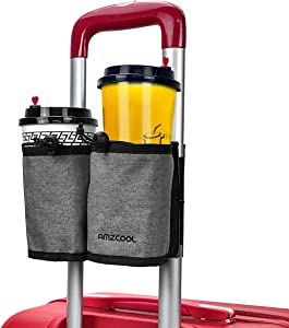 Luggage Travel Drink Bag Cup Holder Free Your Hand for Drink Beverages Caddy Coffee with Backpack Fits All Suitcase Handles (Grey)