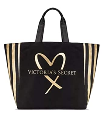70a56a27460b2f Image Unavailable. Image not available for. Color: Victoria's Secret VS Tote  Bag Black and Gold Striped