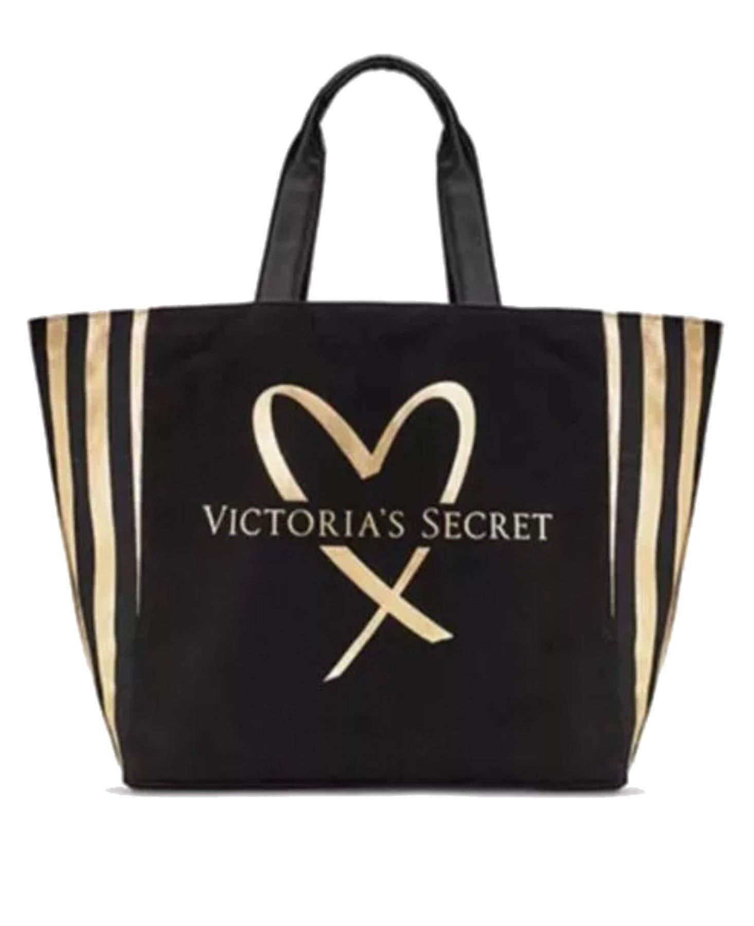 Victoria's Secret Love Tote Bag Black/Gold Stripe