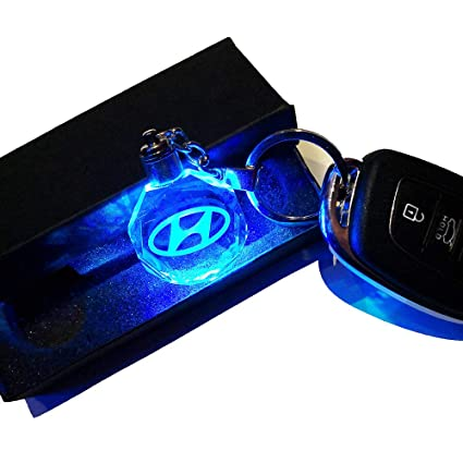 VILLSION Car Emblem Keychain for Hyundai Key Chain Accessories, Color Changing LED Crystal Light