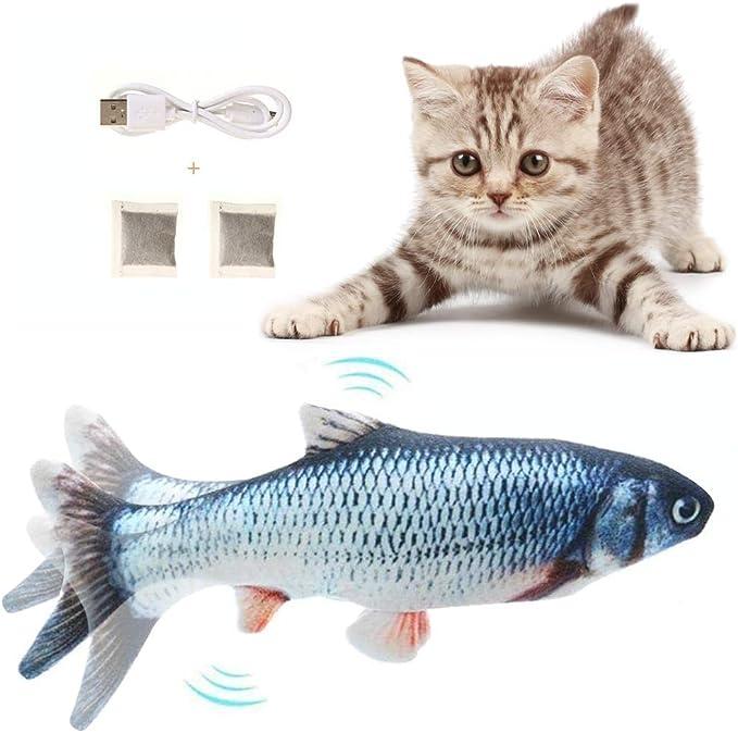 30cm Giocattoli Elettrici per Pesci,Giocattolo interattivo Gatto,Simulazione Peluche di Pesce Giocattoli per Gatto Colording Catnip Giocattoli per Gatti