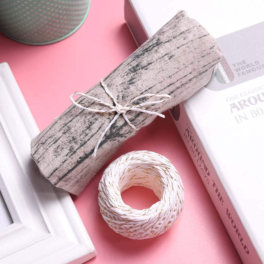 40m//131ft ISKYBOB 2 Rolls Natural Paper Rope Raffia Ribbon Crafting String for Gift Wrapping Floral Packing Craft Projects