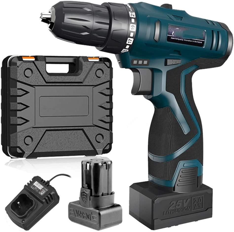 12V 16.8V 25V Adjust Speed Home Cordless Drill Bit Electric Screwdriver Extra Battery Wrench with Plastic Box Power Tool 12V 2 Battery 25v Battery Box Bit