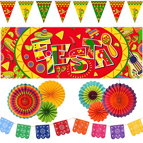 10 Pieces Mexican Party Decoration Set, Mexico Fiesta Banner, Mexican Bunting Flags and Hanging Paper Fans for Cinco De Mayo Mexican Fiesta Carnival Party Supplies or Decor -