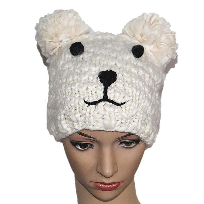 BIBITIME Knitted Bear Ears Beanie Hat Adult Kids Animal Halloween Costume  Cap (White Adult c317ef06785