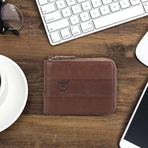 Mens Leather Wallet,E Ekphero Zipper Card Holder RFID Blocking Wallet Coins Purse by E Ekphero (Image #7)