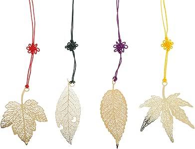 STOBOK - Marcapáginas de 4 hojas de metal, estilo vintage