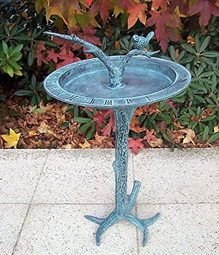 Bebedero para pájaros con reloj de sol, bronce fundido: Amazon.es: Jardín