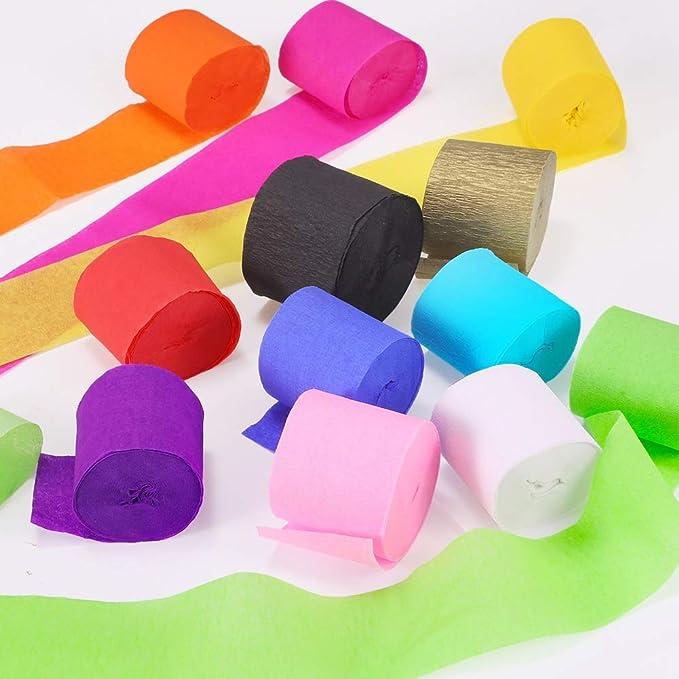 Rollos De Papel Crepé De 24 Piezas Hecho A Mano 32 8 Ft X 1 4 In Para Decoración De Fiestas Acción De Gracias Navidad 12 Colores Toys Games
