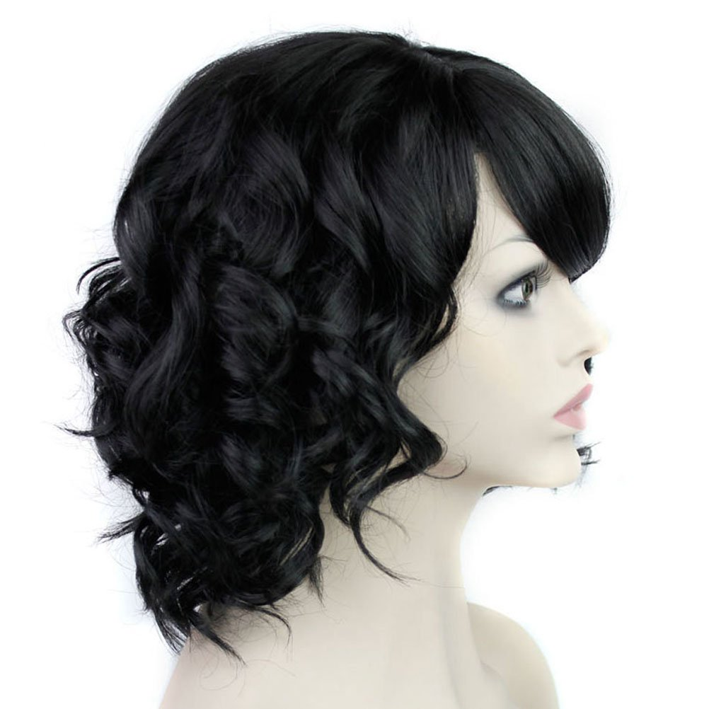 BERON Short Curly Wigs Fashion Wavy Bob Wigs with Side Bangs Short Full Synthetic Wigs for Black Women (Black) by BERON (Image #3)