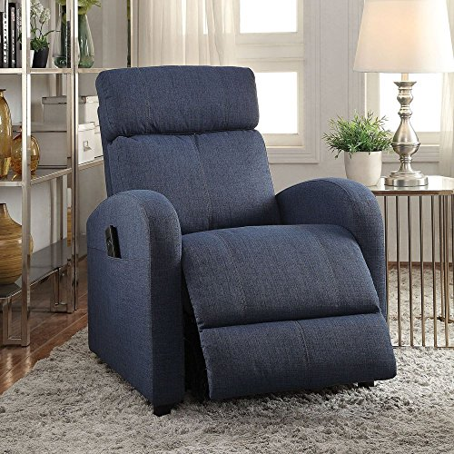 ACME Furniture 59347 Concha Recliner with Power Lift, Blue Fabric - Blue Fabric Recliner