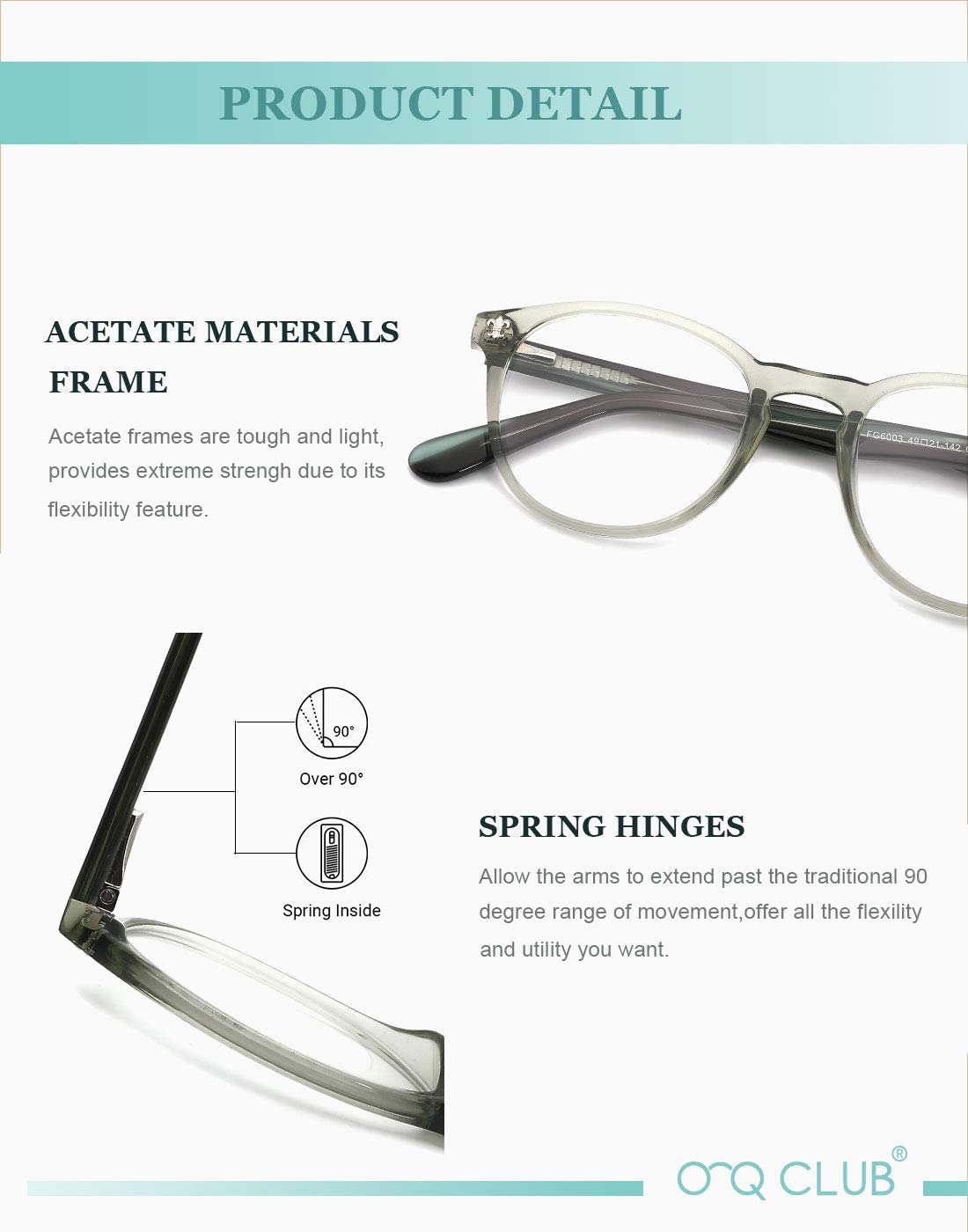 O-Q CLUB Blue Light Blocking Glasses Round Computer Glasses for Women Men(Black)