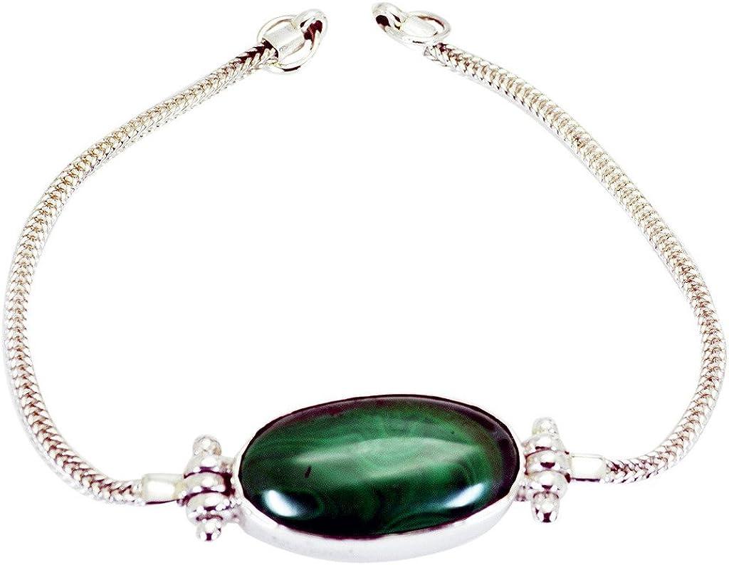 gemsonclick Malaquita plata de ley 925Gemstone pulsera joyas _ gcb207