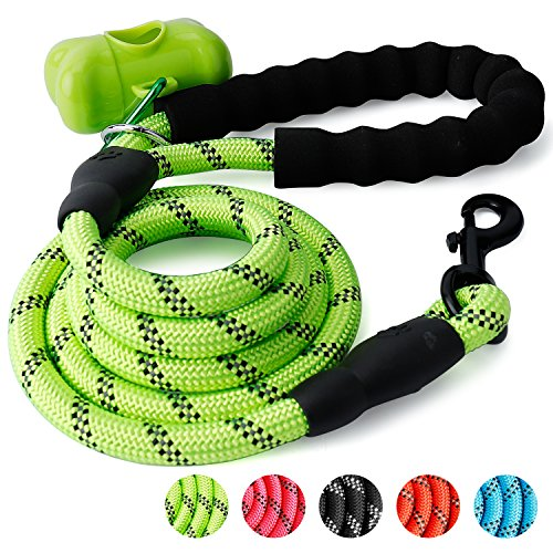 Trary 5 FT Dog Leash with Comfortable Padded Handle, Reflective Leash for Night Safety, Thick Durable Nylon Rope for Small Medium Large Dogs, Green